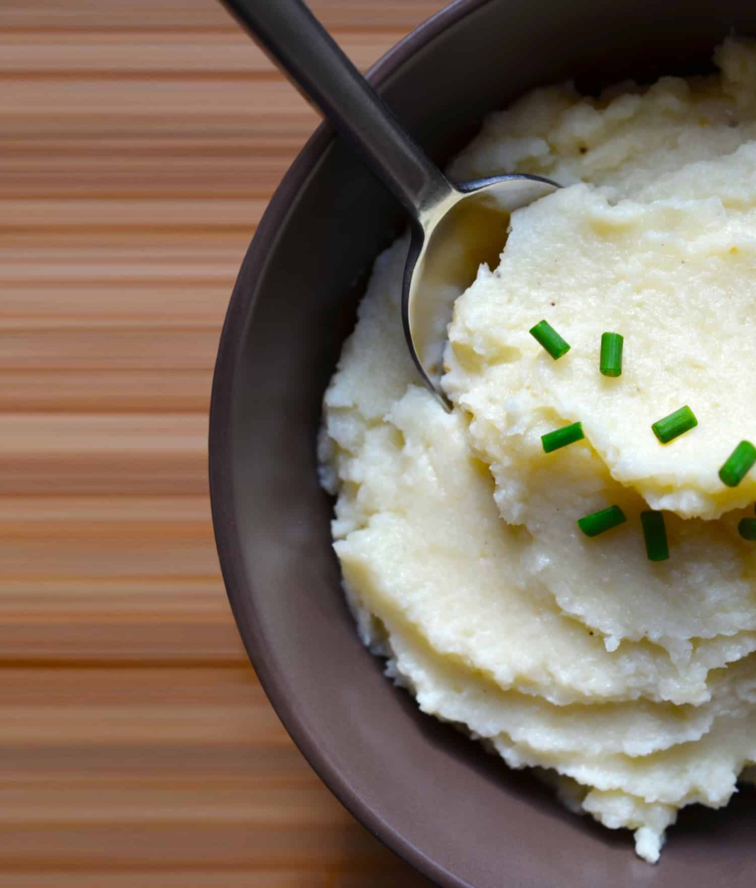 An overhead shot of Garlic Cauliflower Mashed Potatoes