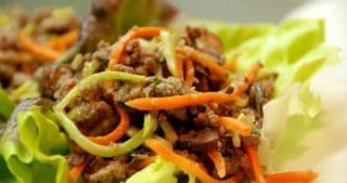 Asian Ground Beef, Mushroom, and Broccoli Slaw Lettuce Cups