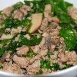 A bowl of paleo and Whole30 quick ground pork stir-fry.