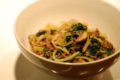 Stir Fried Kelp Noodles With Ground Beef Broccoli Slaw