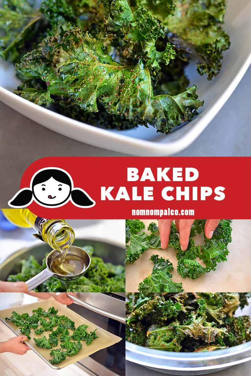 A collage of the cooking steps to make paleo and Whole30-friendly baked kale chips.
