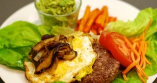 Lamb Burgers With Fried Egg, Sautéed Shiitake Mushrooms, and Onions by Michelle Tam / Nom Nom Paleo