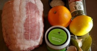 All the ingredients for Whole30 and paleo slow braised pork leg with citrus and fajita seasoning recipe.