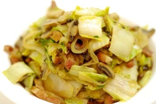 Stir Fried Napa Cabbage With Mushrooms And Bacon Nom Nom Paleo