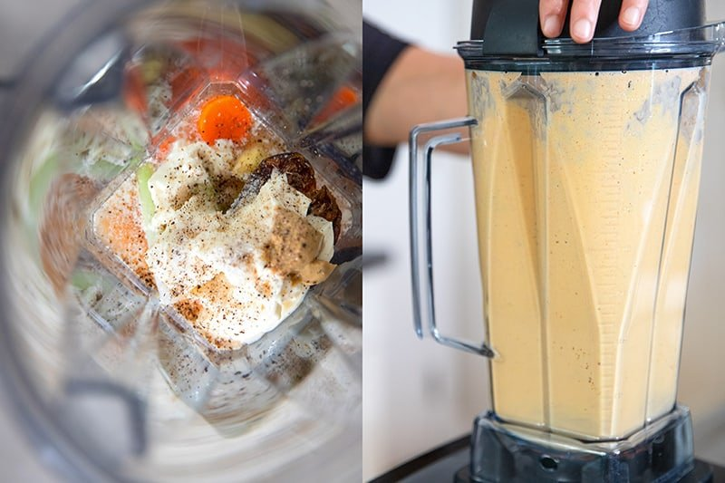An overhead shot of the tangy carrot ginger dressing for red cabbage slaw in an open Vitamix blender. The picture on the right is a side shot of a Vitamix blending up the dressing