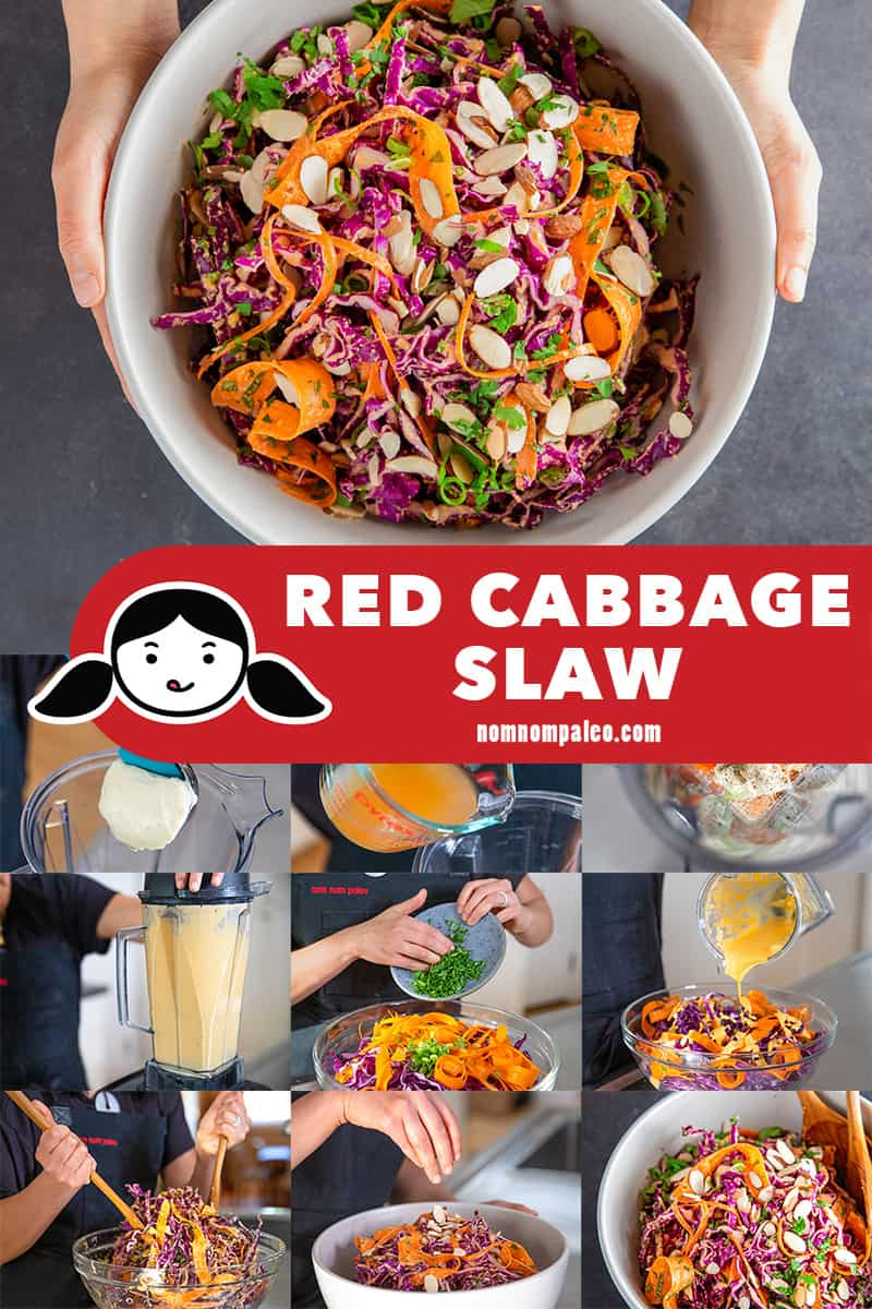 A collage of the cooking steps for Whole30 and paleo red cabbage slaw with tangy carrot and ginger dressing.