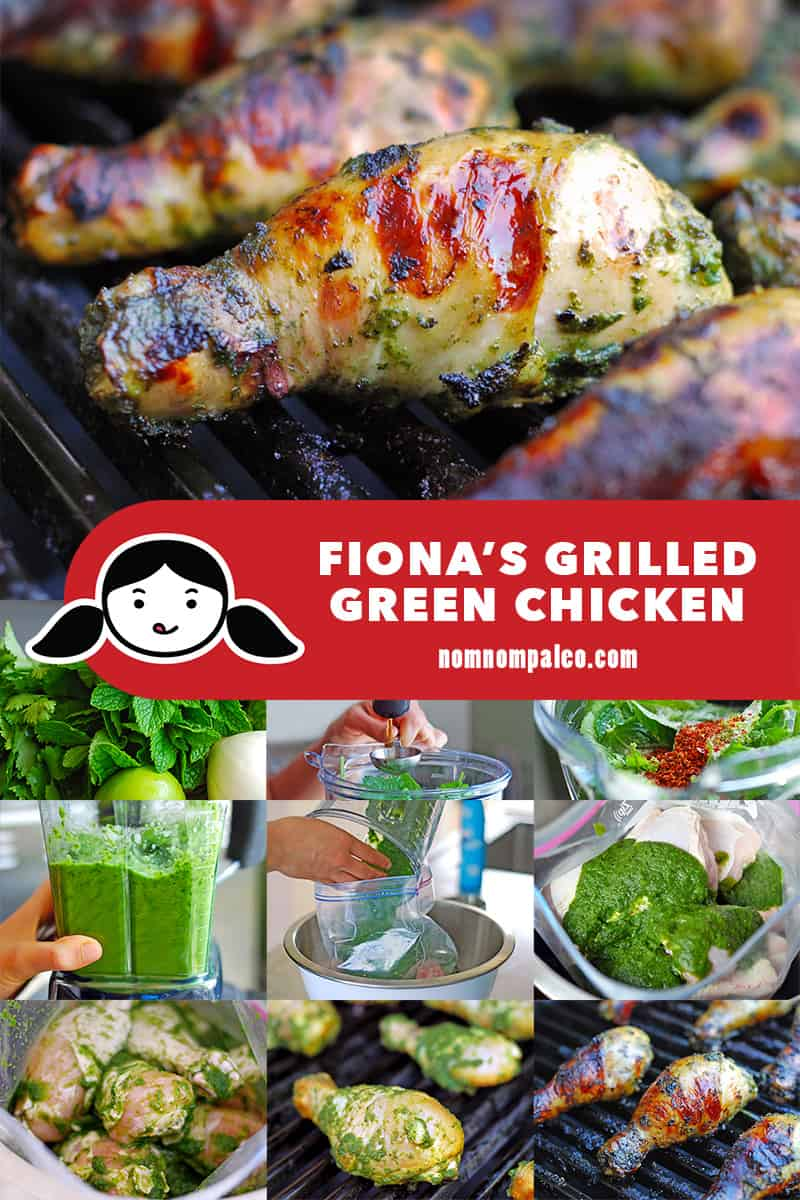A collage of the cooking steps to make the best paleo and Whole30-friendly grilled chicken, Fiona's Grilled Green Chicken.