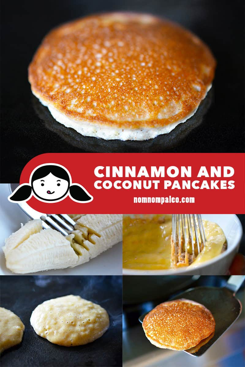 Step by step pictures for making cinnamon and coconut paleo pancakes.