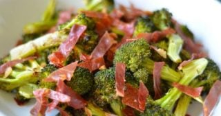 Roasted broccoli with crispy prosciutto.