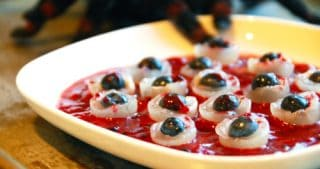 Bloody Eyeballs (Blueberry-Stuffed Longans in Berry Sauce) by Michelle Tam / Nom Nom Paleo