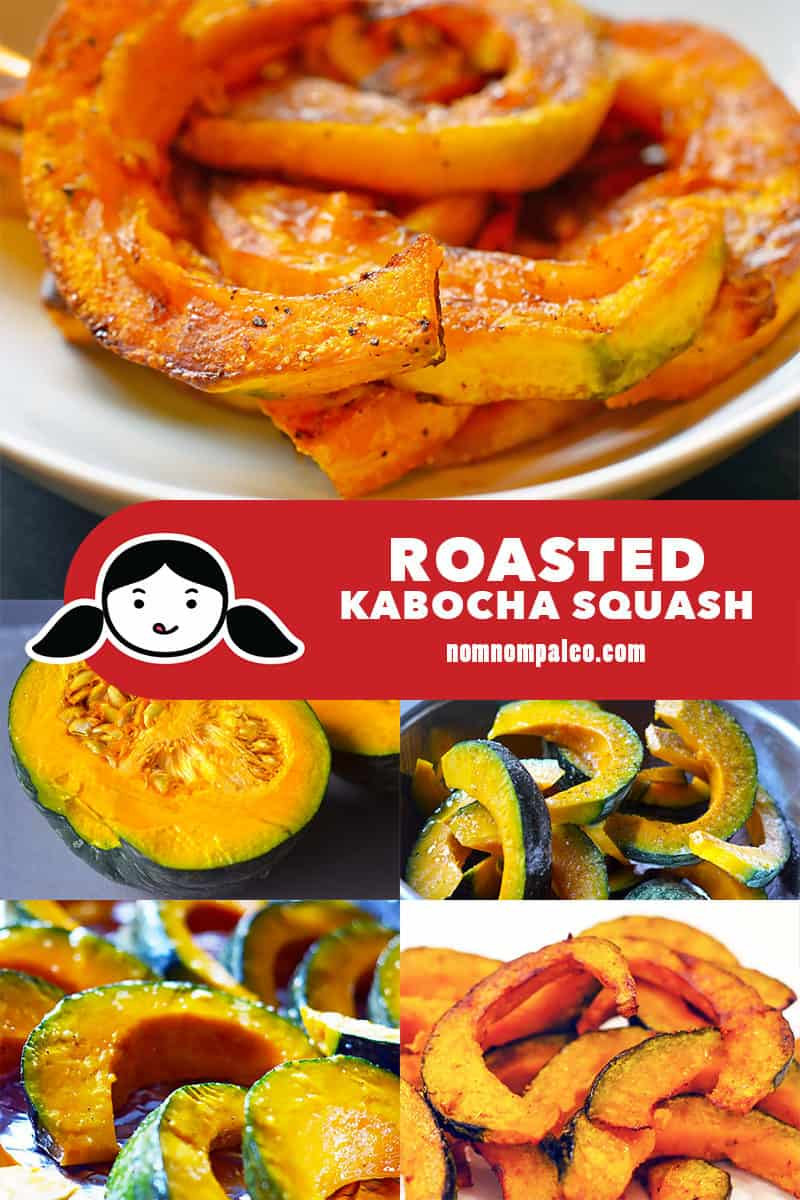 A collage of the cooking steps for roasted kabocha squash.