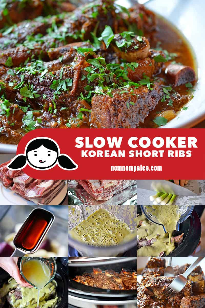 A collage of the cooking steps for Slow Cooker Korean Short Ribs