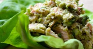 Butter lettuce used as a wrap around a mix of tuna and avocado.