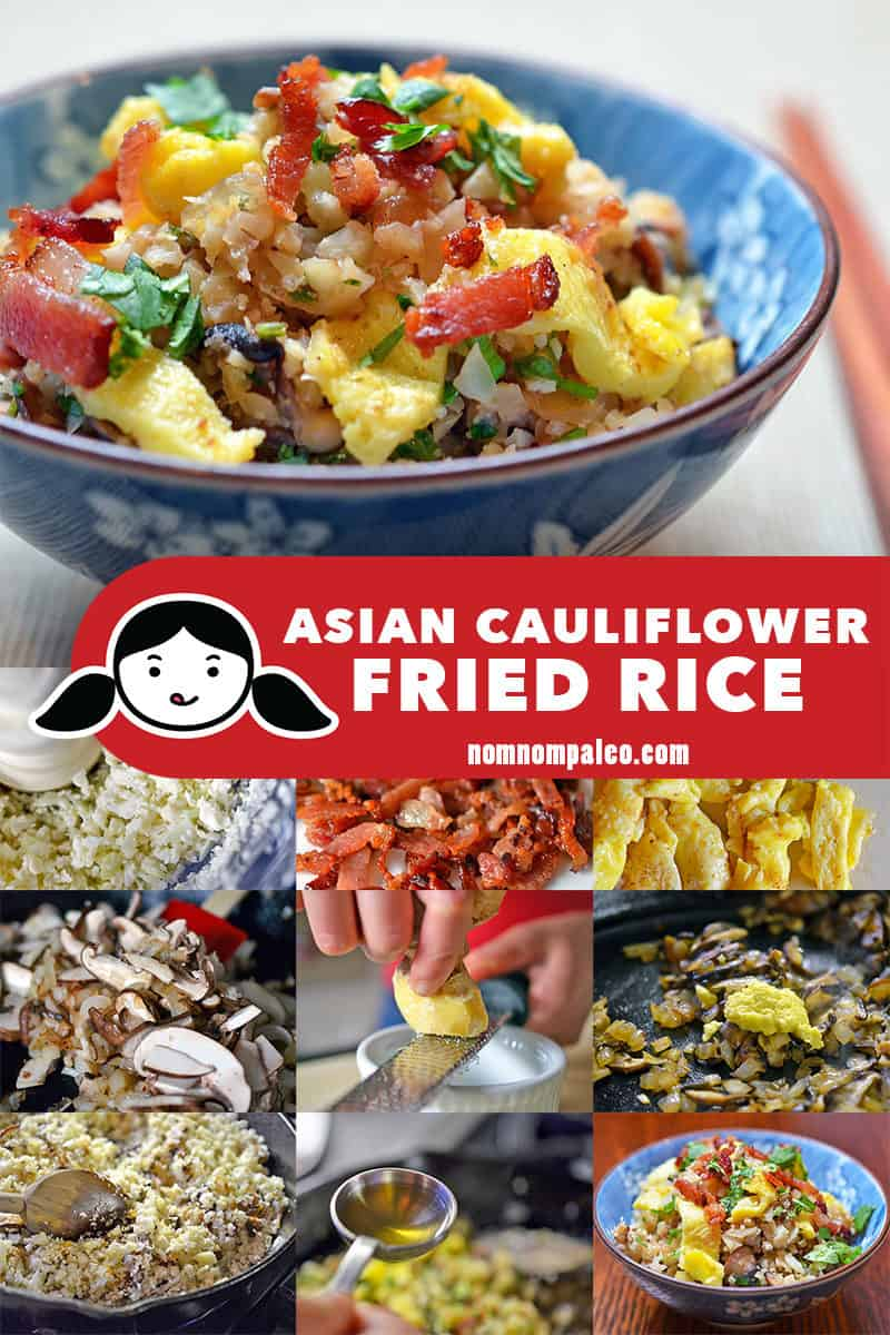 A collage of the cooking steps for Asian Cauliflower Fried Rice