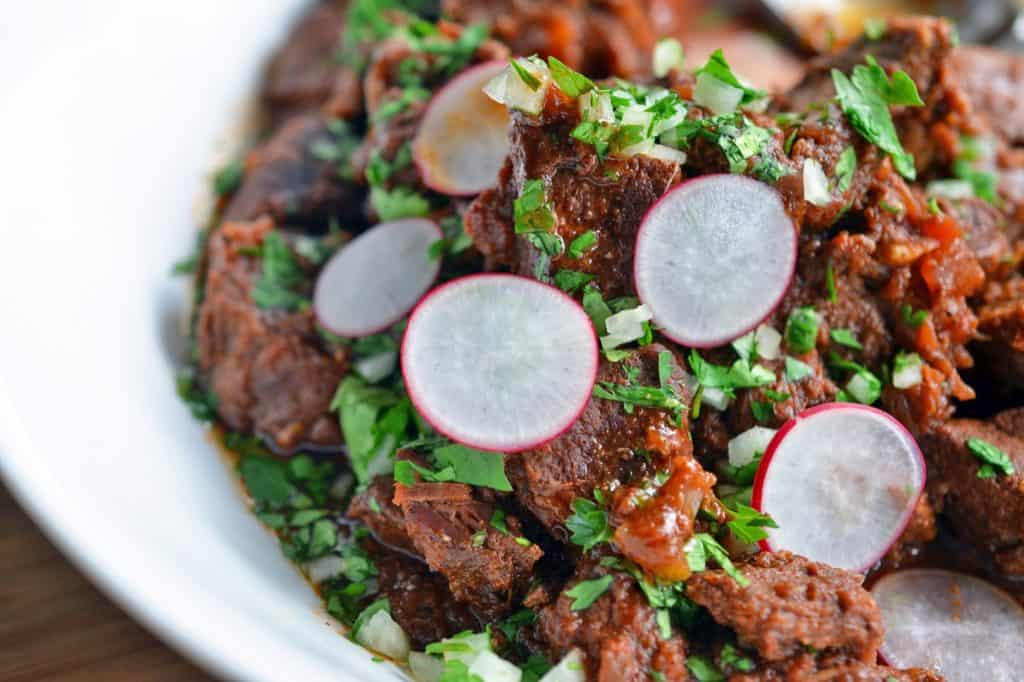 A closeup of Oven-Braised Mexican Beef for Whole30 tacos