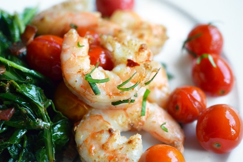 Tabil seasoned sauteed shrimp paired with cherry tomatoes
