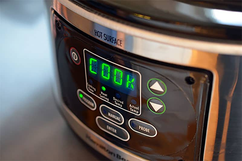 The display on a slow cooker that is making Slow Cooker Cheater Pork Stew, a simple and