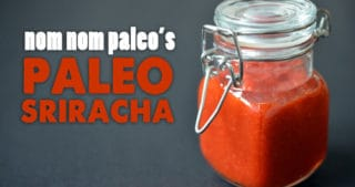 A shot of a jar of homemade paleo sriracha