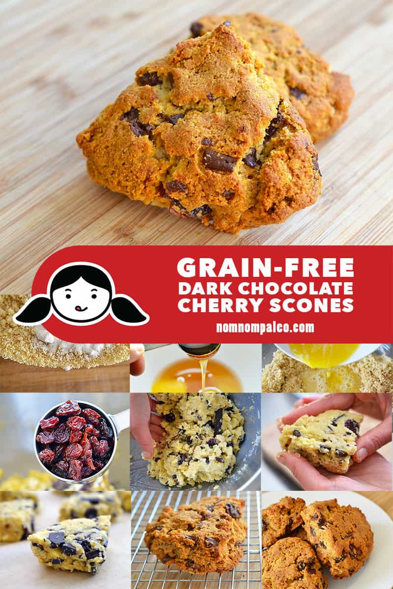 A collage that shows these grain-free dark chocolate cherry scones and the steps to make it!