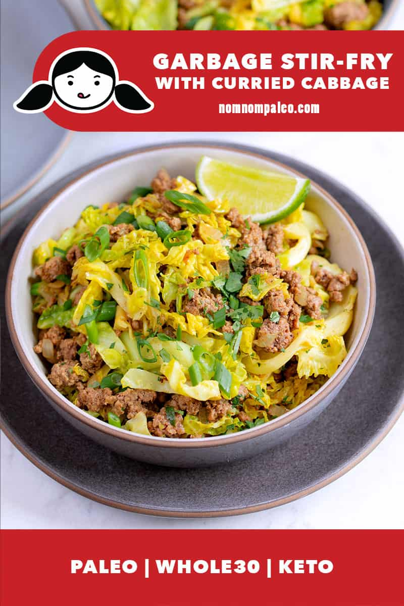 An overhead shot of a bowl filled with ground beef and curried cabbage, a Whole30, keto, and paleo garbage stir-fry from Nom Nom Paleo