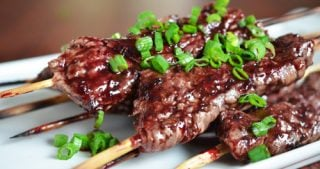 Smashed Steak Skewers with Cherry Barbecue Sauce