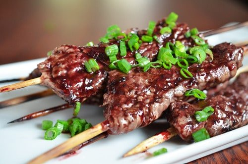Smashed Steak Skewers with Cherry Barbecue Sauce - Nom Nom ...