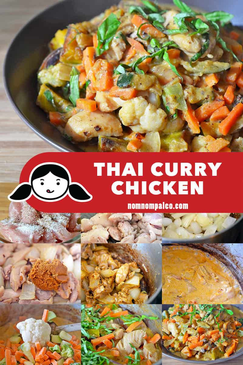 A collage of the cooking steps for Whole30-friendly paleo Thai Curry Chicken recipe