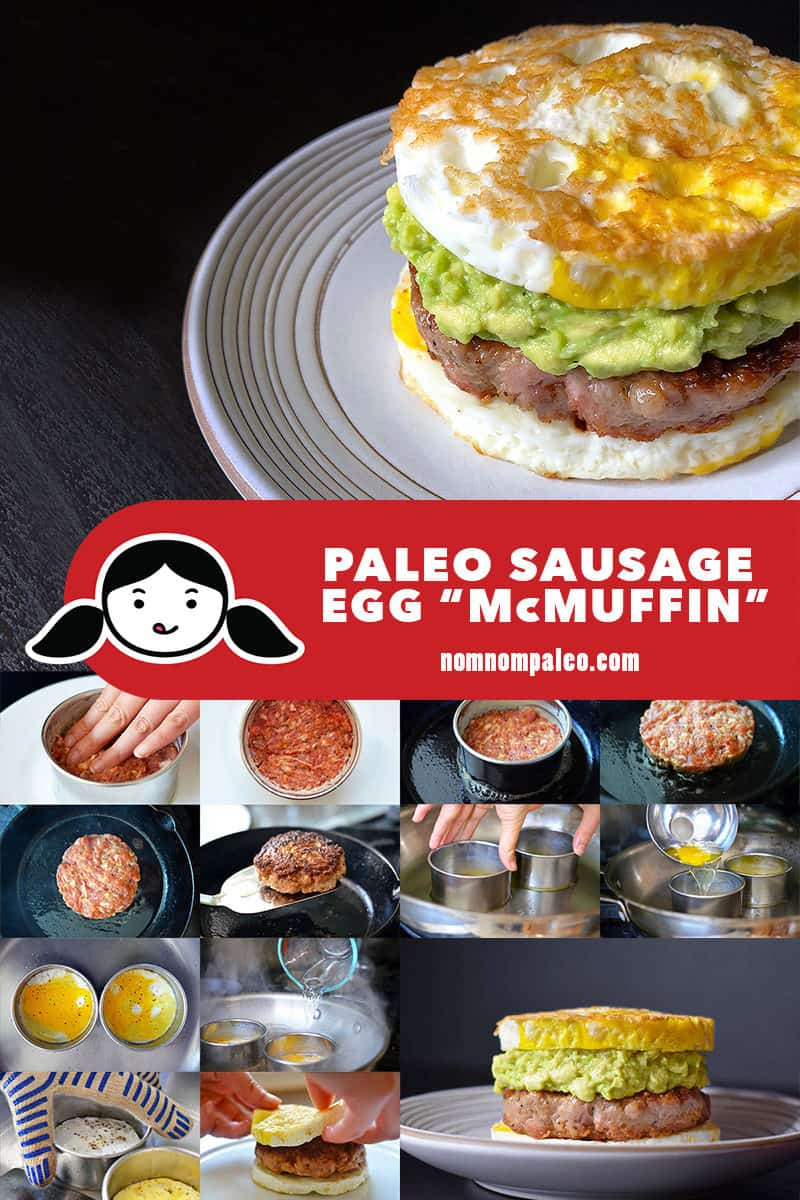 A collage of the cooking steps to make Paleo Sausage Egg McMuffin