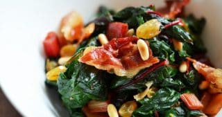 Swiss Chard with Raisins, Pine Nuts, and Porkitos