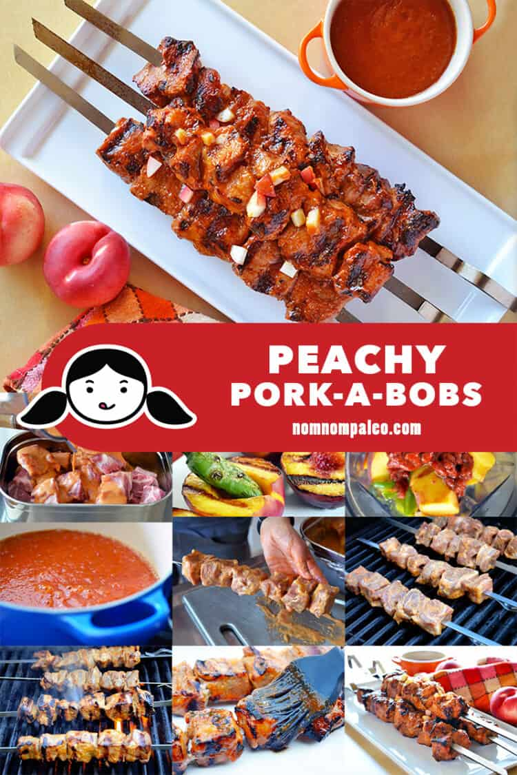 A collage of the cooking steps to make Whole30 pork kabobs with spicy peach barbecue sauce.