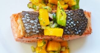 Mango + Avocado Salsa on Pan-Seared Salmon