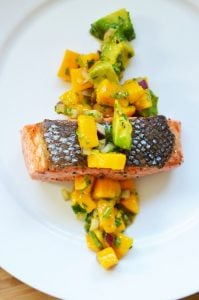 Mango and Avocado Salsa on Pan-Seared Salmon by Michelle Tam / Nom Nom Paleo http://nomnompaleo.com