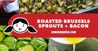 A collage of the cooking steps for Roasted Brussels Sprouts and Bacon