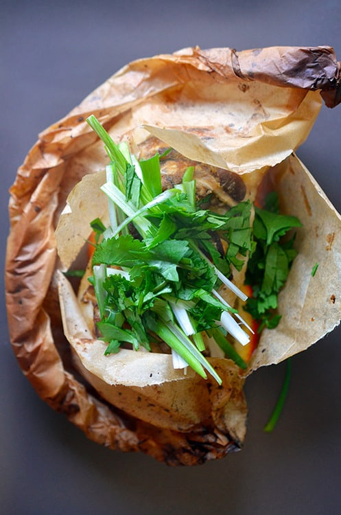 Fish en Papillote (in Parchment) with Citrus, Ginger, & Shiitake
