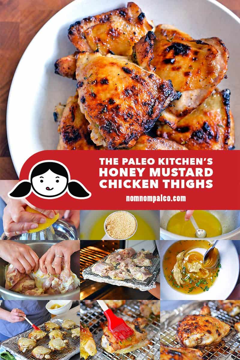 These paleo honey mustard chicken thighs are the perfect weeknight meal! You can throw them together with items you already have in your kitchen!