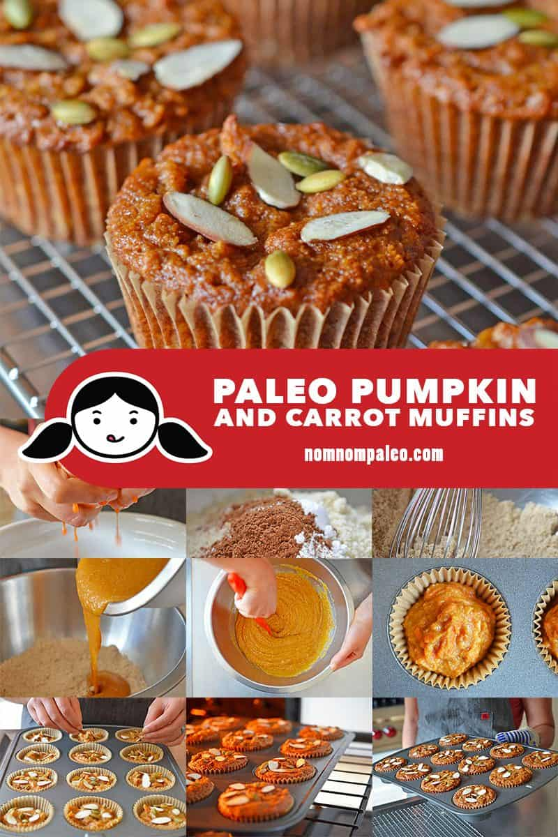 A collage of the cooking steps to make paleo pumpkin and carrot muffins, a healthy fall treat.