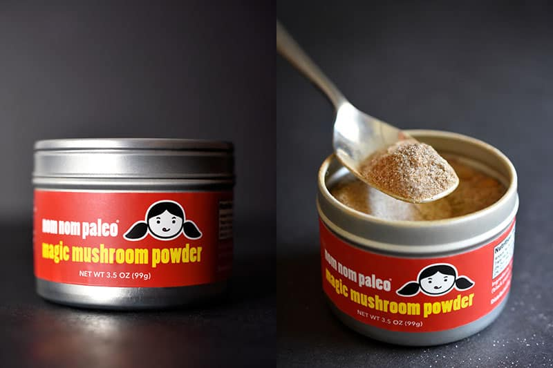 Two shots of tins of Magic Mushroom Powder, one a front view of the label and the second an open tin with a spoon scooping some out.