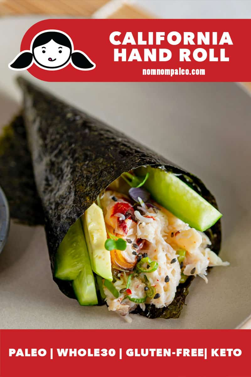 An closeup picture of a homemade Whole30 and keto California hand roll filled with fresh crab, sliced cucumber, avocado, and sprouts.