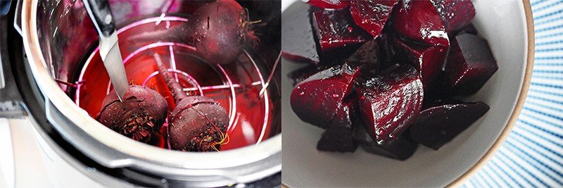 A shot of Instant Pot Beets on a steamer rack in the Instant Pot and a bowl of Instant Pot beets ready to eat