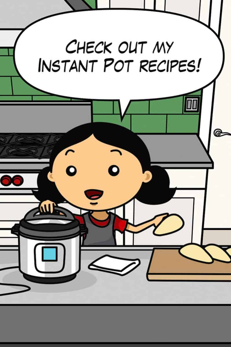"A cartoon Michelle Tam is saying ""Check out my Instant Pot recipes!"""