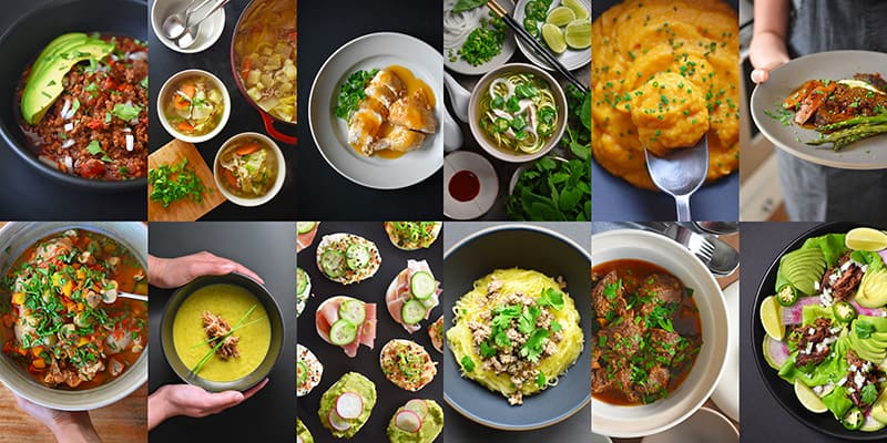 A collage of Nom Nom Paleo Instant Pot recipes that are Whole30-friendly and easy.