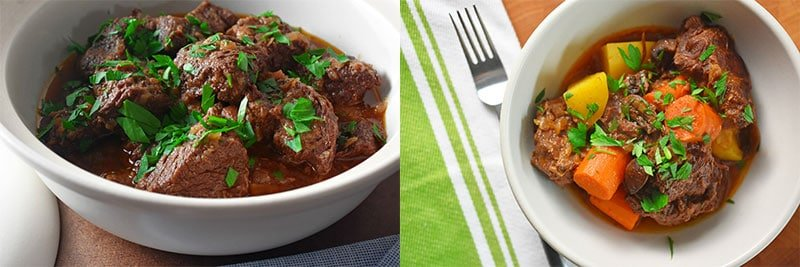 Two shots of pressure cooker beef stew. The one on the left has no vegetables and the one on the right has carrot and potato chunks mixed in.