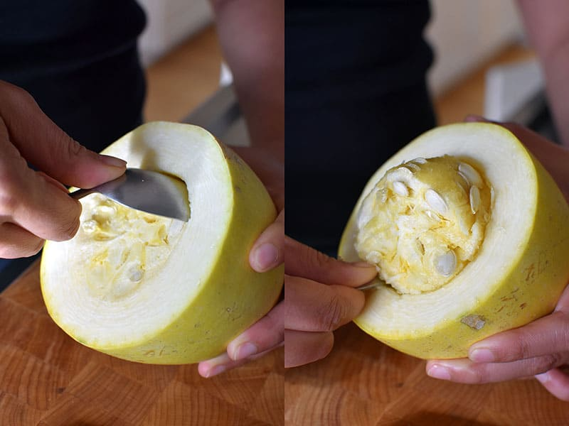 Two shots side by side of someone using a large spoon to scoop out the seeds in a spaghetti squash cut in half horizontally.