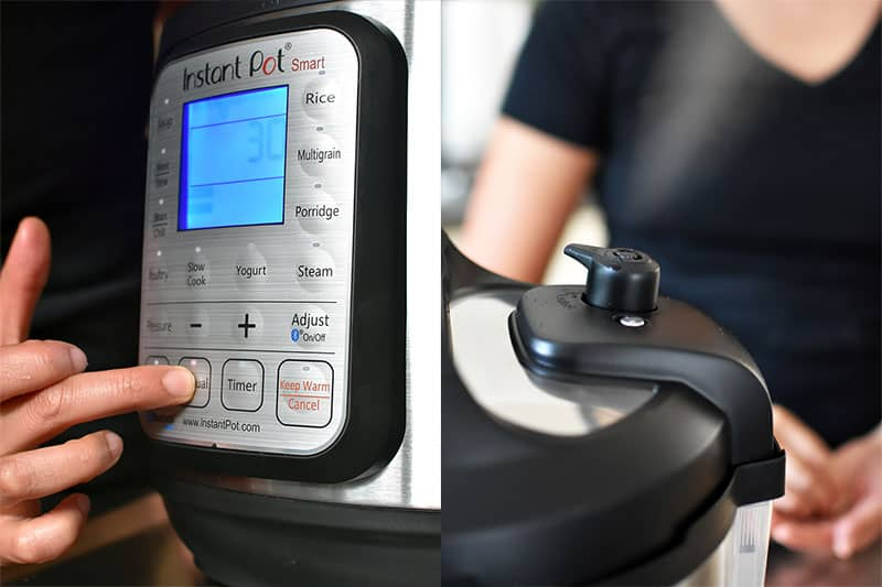 "In the left image, a finger is pressing the ""Manual"" button on an Instant Pot. In the image on the right, the pressure valve on the Instant Pot is switched to quick release."