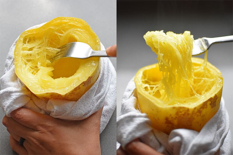 In the left image, a hand is holding the cooked Instant Pot spaghetti squash with a white dish towel. In the image on the right, a fork is being used to pull up the cooked squash like spaghetti.