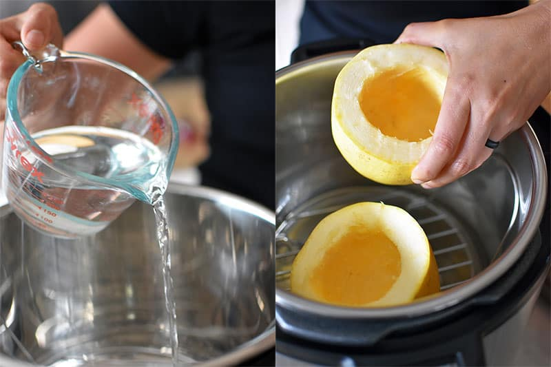 On the left photo, someone is pouring water into the metal insert of an Instant Pot. In the picture on the right, a hand is shown lowering two halves of a spaghetti squash onto a steaming rack in an Instant pot.