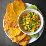 Fried Green Plantains + Mango Avocado Salsa