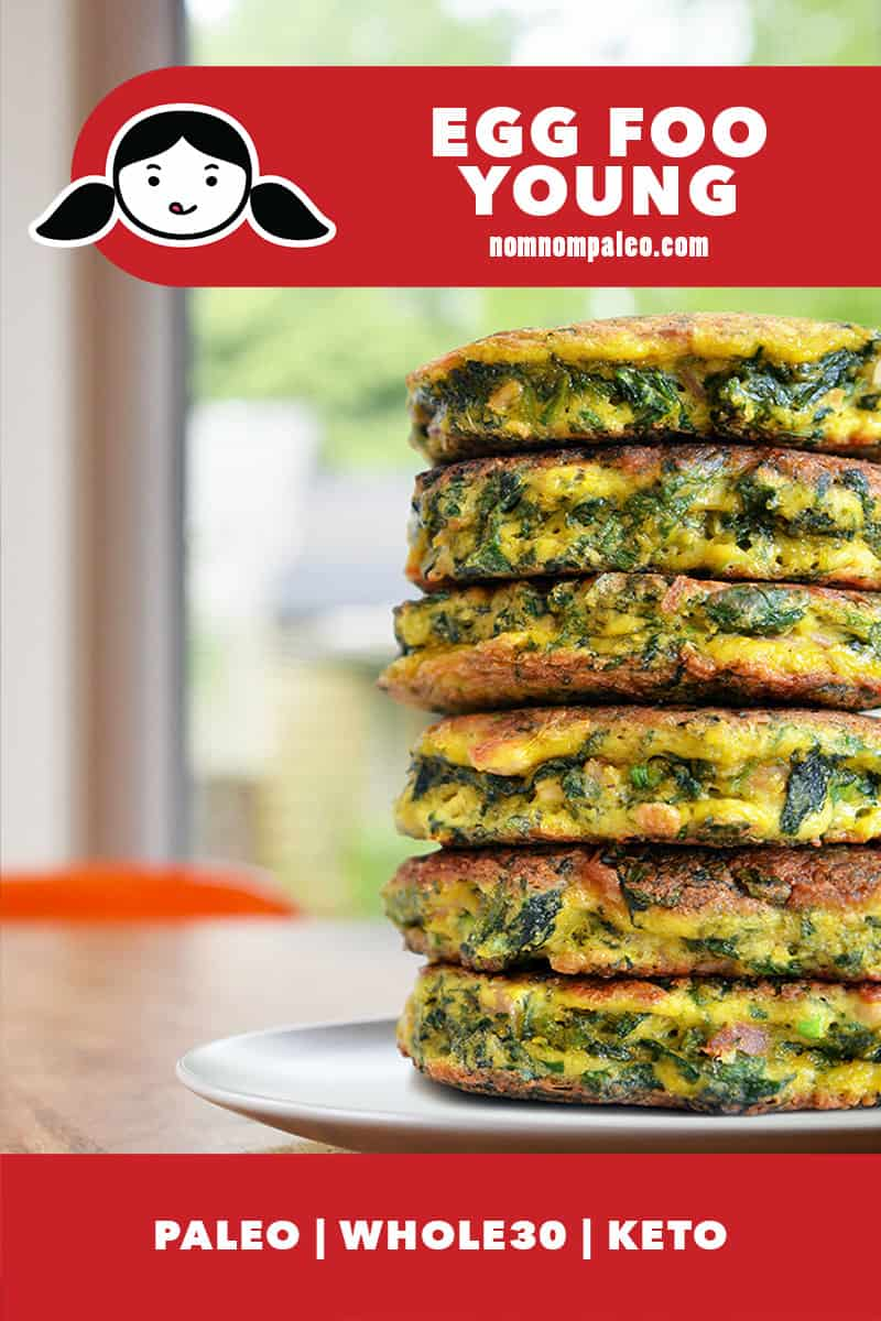 "A stack of Paleo Egg Foo Young on a plate. There is a red banner that says ""Egg Foo Young"" and ""Paleo, Whole30, Keto."""