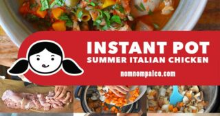 A collage of the cooking steps to make Instant Pot Summer Italian Stew, a Whole30 friendly easy weeknight dish.