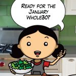 A cartoon of Nom Nom Paleo has a word bubble that says Ready for the January Whole30